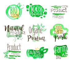 Healthy Bio Food Promo Signs Colorful Set - stock illustration