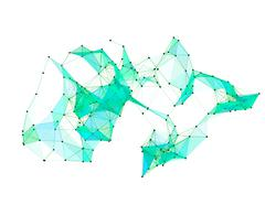 Abstract molecular lattice network. Abstract polygonal shape. Piirros