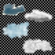 clouds set on transparent background. Vector illustration. - stock illustration