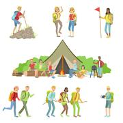 Young Friends On Hiking Trip Set Stock Illustration