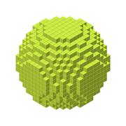 3d pixel sphere.Vector illustration.3d isometric style. Stock Illustration