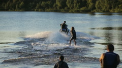 woman water skiing on a lake - stock footage