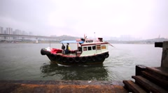 View of the small outgoing motor boat. Stock Footage
