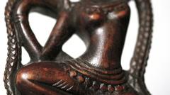 Hindu 'Dancing Shiva' statue, tilt up, rotating + isolated on white bg (loop) Stock Footage