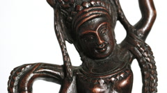 Hindu 'Dancing Shiva' statue, med,rotating + isolated on white background (loop) Stock Footage