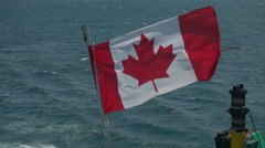 Canadian Flag on Back of a Boat. Stock Footage