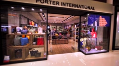 Porter International store in Hong Kong mall. Stock Footage