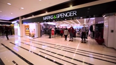 Marks&Spencer store in Hong Kong mall. Stock Footage