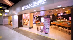 Natura Siberica store in Hong Kong mall. Stock Footage