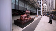 View of beautiful bronze statue of the angry lion Stock Footage