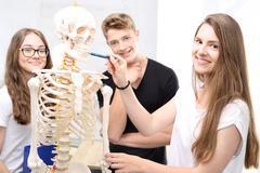 Schoolgirl watching model of a human skeleton. - stock photo