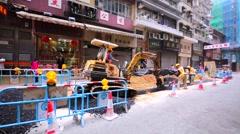 Roadwork on Hong Kong street, China. Stock Footage