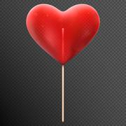 Red heart shaped candy lollipop. EPS 10 Stock Illustration