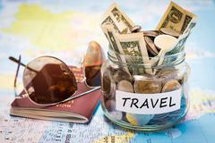 Travel budget concept with passport and sunglasses Stock Photos