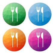 Set  of 4 isolated modern low polygonal buttons - icons - for fork and knife Stock Illustration
