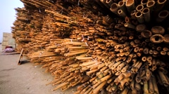 A lot of bamboo poles in the Hong Kong mooring. Stock Footage