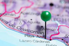 Playa Azul pinned on a map of Mexico Stock Photos