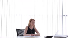 The girl denies mistake in the documents Stock Footage