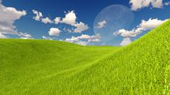 Moon and spring green meadow Nature 3D rendering Stock Illustration