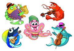 Funny group of musician sea animals Stock Illustration