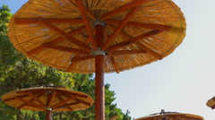 Thatched umbrellas on a sunny day on a beach Stock Footage