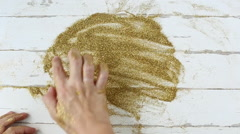 Gold Glitter on hands. Love concept Stock Footage
