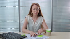 Girl shouting in the office Stock Footage