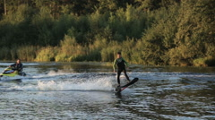 Hover board rider.Fly board rider Stock Footage