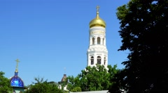 Holy Dormition Monastery Odessa. monastery bell tower Stock Footage