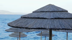 Thatched umbrellas on an early morning Stock Footage