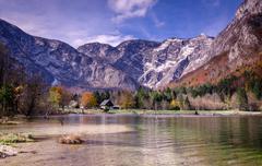 Landscape of beautiful nature, lake Bohinj, Slovenia Stock Photos