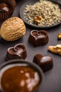 Heart shaped chocolate praline Stock Photos