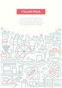 Italian Pizza - line design brochure poster template A4 Stock Illustration