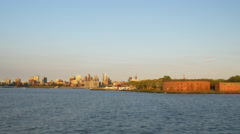Sunset manhattan ferry ride broklyn governors island panorama 4k usa Stock Footage