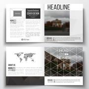 Set of square design brochure template. Polygonal background, blurred image - stock illustration