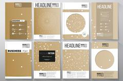 Set of business templates for brochure, flyer or booklet. Abstract polygonal low Stock Illustration