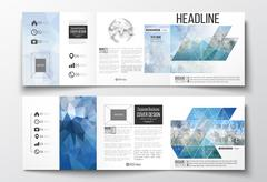 Set of tri-fold brochures, square design templates. Abstract blue polygonal - stock illustration