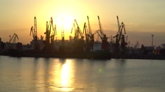 Sunset at the seaport. Stock Footage