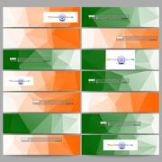 Set of modern banners. Background for Happy Indian Independence Day celebration - stock illustration