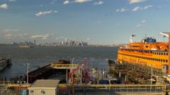 New york staten island ferry dock manhattan sunset panorama 4k usa Stock Footage