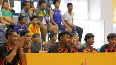 Spectators at Sepak Takraw match,Ubon Ratchathani,Thailand - stock footage