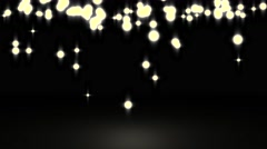 Glowing star particle in random direction with bounce on spotlight ground abs - stock footage