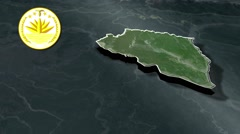 Rajshahi Division with Coat Of Arms Animation Map Stock Footage