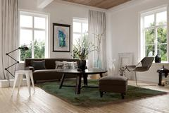 Cozy homely living room interior Stock Illustration