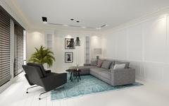 Cozy modern white living room with large windows Stock Illustration