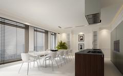 Elegant dining room interior with white decor Stock Illustration