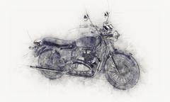 Rough pencil sketch of a motorbike Stock Illustration