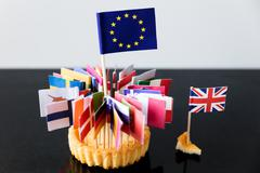 flags of european union in a cake - stock photo