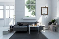 Comfortable sofa in a modern living room interior Stock Illustration