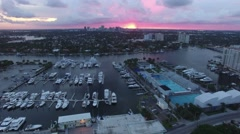 Aerial of boats moored at harbor, Florida - stock footage